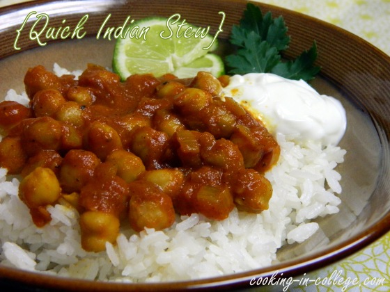 Quick Indian Stew - Cooking in College